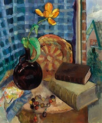 still life with yellow tulip by johan buning