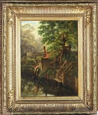 jeune femme puisant à la rivière by henri renault