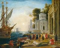 vue de port avec l'arrivée de cléopâtre by le lorrain