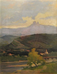 landscape with river by honorius cretulescu