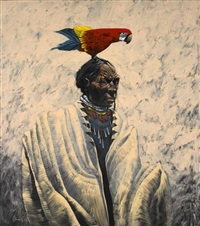 indian with parrot by lawrence w. lee