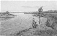 mittelrussische flußlandschaft by evgeniy ivanovich stolitsa