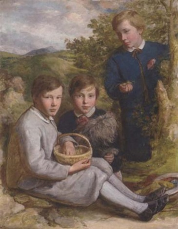 portrait of the baxter brothers of bedford gathering chestnuts with their dog by edward opie