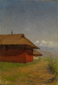 nepalese village by vasili vasilievich vereshchagin