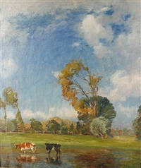 cattle watering on a breezy summer day by karl langhammer