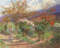 le pied de dalhias roses by marie marguerite reol