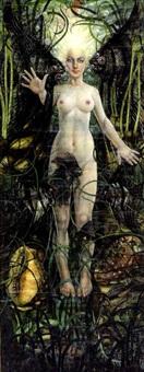 femme aux poissons sur fond de végétation aquatique by louise janin