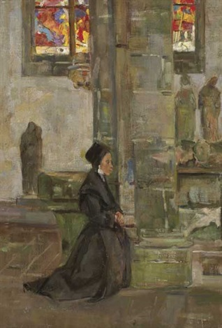 interior of a church in brittany by walter chetwood aiken