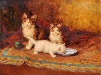 chatons et assiette de lait by jules leroy