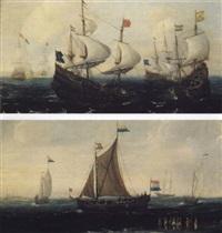 bateaux de guerre livrant combat sur une mer agite - un   smalschip et d'autres bateaux proches du rivage..(une paire) by andries van artvelt (ertvelt)
