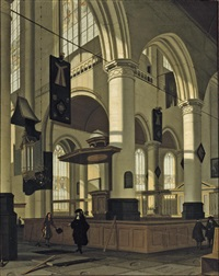a protestant gothic church interior with an elegant man by a grave by hendrick van streeck