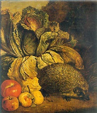 a hedgehog, a cabbage and apples at the foot of a tree by philip saurland