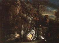 nature morte aux fruits, gibiers et petit chien by aniello ascione