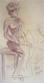femme à l'ombrelle, 31 mars by jules chéret