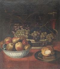 nature morte au panier de raisins, à la coupe de pommes et de poires, au pain dans une coupe d'argent by frans snyders