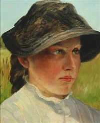 portrait of a young woman wearing a hat by wenzel ulrik tornoe