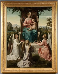 madonna and child with angels bearing attributes of christ by karl müller