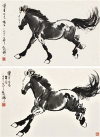 奔马 镜心 水墨纸本、设色纸本 (2 works) by liu boshu
