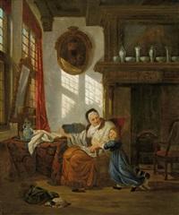 interieur mit grossmutter und enkelkind by abraham van stry the elder