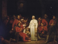 pope pius ix visiting the troops of garibaldi by françois gabriel guillaume lépaulle