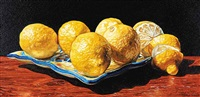 six lemons on a talavera plate by robert lemay
