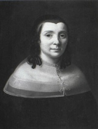 portrait of a lady wearing a black costume and a linen collar by cesar boetius van everdingen