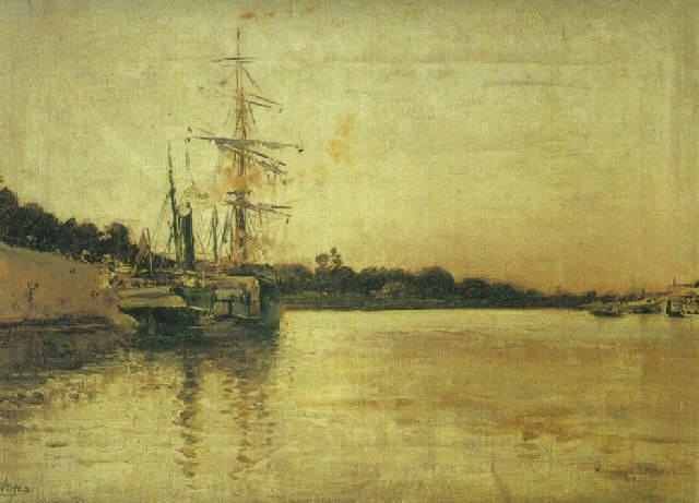 barco en el puerto de sevilla by josé arpa perea