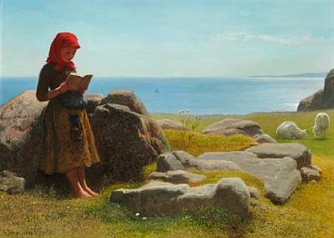 coastal scene with a little girl reading presumably from bornholm by anton laurids johannes dorph
