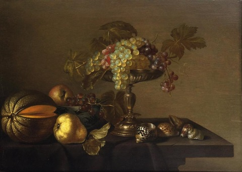 nature morte aux fruits et aux coquillages by cornelis jacobsz delff