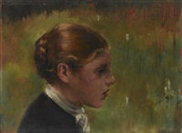 head of a peasant by james carroll beckwith