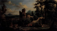 landscape with figures amongst classical ruins a village beyond by anglo-dutch school (18)