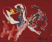 animal fond rouge by karel appel