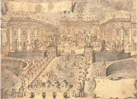 the cordonata and piazza del campidoglio, rome, with fireworks and revellers celebrating the election of pope clement xii corsini in 1730 by pompeo aldrovandini