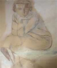 jeune fille assise by léopold gottlieb
