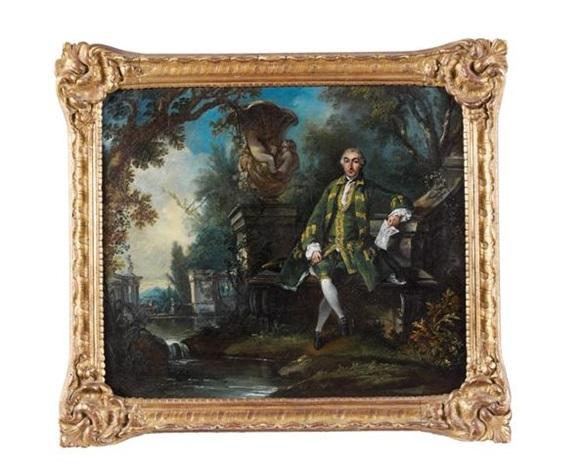 portrait dhomme tenant une partition dans un paysage à la fontaine baroque by jacques de lajoue