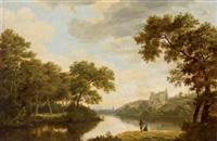idyllische flusslandschaft mit einer burg by joris van der haagen