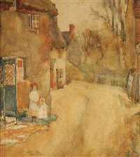 village street with two girls by pauline palmer