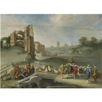 an arcadian landscape with shepherds dancing and making music before roman antiquities by jan (hermafrodito) linsen