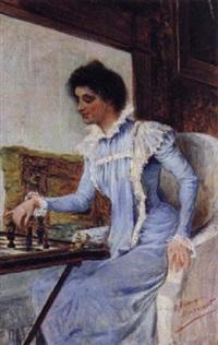 dama jugando al ajedrez by césar álvarez dumont