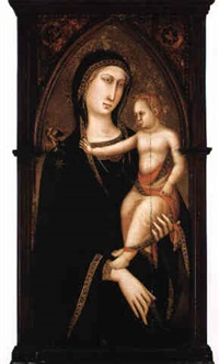 virgin and child with a bird by luca di tomme