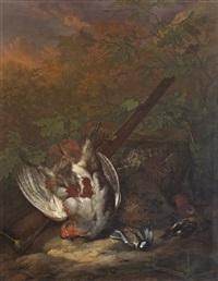 jagdstillleben mit erlegten vögeln by johannes josephus ignatius van straaten