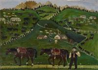 ankunft auf der alp - alplandschaft mit szenen aus dem sennenleben - im vordergrund zwei gremplerpferde (+ senn mit kühen (study), verso) by franz anton haim