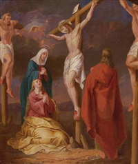 kreuzigung christi mit den beiden schächern, der heiligen maria, dem heiligen johannes und der heiligen maria magdalena by austrian school (19)