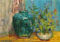 still life study in yellow and blue by mary remington