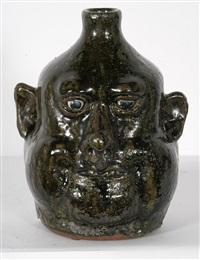 heavy fired face jug by lanier meaders