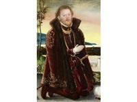 portrait of prinz joachim ernst von anhalt (+ and portrait of prinzessin agnes gräfin von barby; pair) by lucas cranach the younger