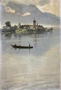 blick auf die fraueninsel, auf dem chiemsee boot mit fischern by karl raupp