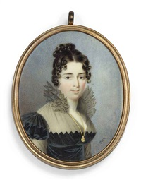 a young lady, in black dress with fichu and black gauze upstand collar, wearing a long gold chain and pendant by nicolas-françois dun