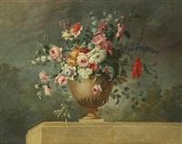 bouquet de fleurs dans un vase posé sur un entablement by le riche (leriche)