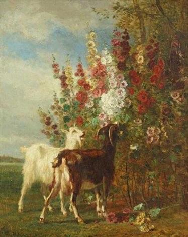 les chèvres dans les roses trémières by constant troyon